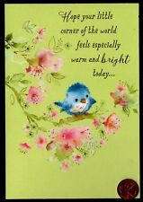 Birthday Adorable Blue Bird Pink Flowers Branches Glittered - Gree