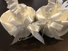 Two flower girl baskets - wedding bridal satin child party Ribbon Pretty
