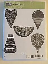 Stampin' Up! SUMMER SORBET (5) Stamps Set- Balloon, 5-Tier Cake, Snowcone