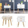 Bedside Table Bedroom Unit Cabinet End Side Lamp Table with Drawers Wooden White
