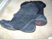 HUSH PUPPIES Mid-Calf BLACK SUEDE Winter Flat Side Zip Boot  Sz 9 M