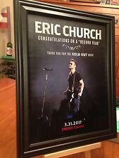 "BIG 10x13 FRAMED ERIC CHURCH ""LIVE IN LOS ANGELES '17"" TOUR LP ALBUM CD PROMO AD"