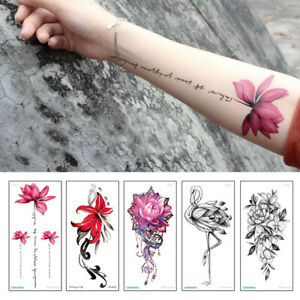 Temporary Fake Tattoos Sticker Cartoon Flowers Black Body Art Waterproof Women