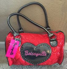 "Betseyville By Betsey Johnson ""Be Mine Bright Red"" Satchel NWT"