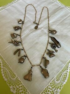 """Pididdly Links Necklace  24"""" Chain 13 Charms Cupid  Teapot Purse JDU-58"""