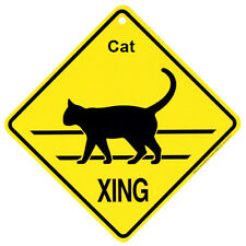 Cat silhouette xing crossing caution Sign Made in USA by KC Creations