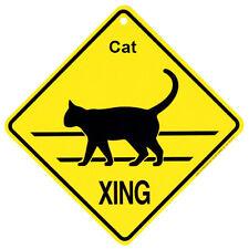 Cat silhouette xing crossing caution indoor outdoor yard sign