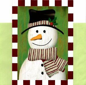 Jolly Snowman Holly Scarf Holiday Season Greeting Cards - Set of 8