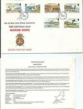 1983 Isle of Man FDC & Insert Marine Birds Set of 6 to 18p FDI 15-2-1983 Douglas