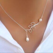 Halskette Blatt mit Perlen Y-Kette Unendlichkeit Silber Schmuck Kette NEU P138a