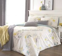 SUPER KING SIZE 6' FLORAL DUVET COVER 2 PILLOW CASES (WHITE,BLUE,YELLOW) ORLANDO