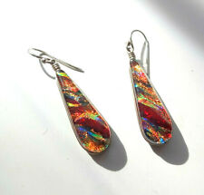 Kendra Scott Miracle Art Dichroic Glass Multi Color Sdot Dangle Pirced Earrings