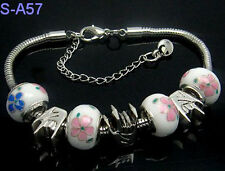 handmade European style porcelain charms beaded bracelet lobster clasp LSA57