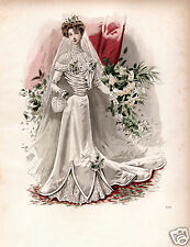 Ladies Vintage Edwardian Wedding Fashion Art Print 10x8 home decor
