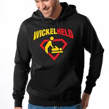 Wickelheld Vater Papa Superheld Geburt Fun Baby Kapuzenpullover Hoodie Sweater