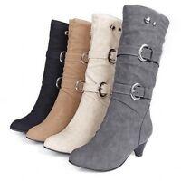 Mode Damen Winterstiefel 5.5CM Pumps Schuhe Stiefeletten Gr.35-43 Schwarz Beige