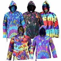 Men's Tie Dye Hoodie Shirt 100% Cotton Cool Funky Colorful Side Pockets Jumper