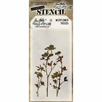 Tim Holtz Wildflower Layering Stencil Template - Meadow, Flower Silhouette
