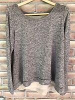 Larry Levine Women's Long Sleeve Sweater - Size Medium-tan/black variegated