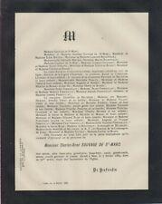 Faire-part décès Charles-René SAUVAGE de SAINT-MARC (Lyon, 1815 - Nice, 1885).