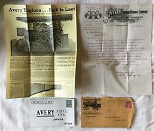 Vintage Avery Mfg. Peoria Farm Machinery Agriculture Letter Flyer Postcard 1907