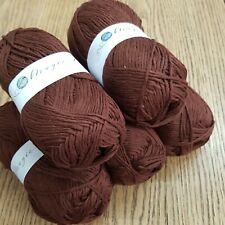 COTTON DOUBLE KNITTING WOOL / YARN 5 x 100g see description, brown