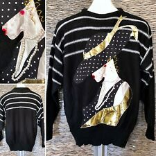 VTG 80s Lady w/Hat 3D Art To Wear Sweater Embellished Metallic Slouchy Glam Ugly