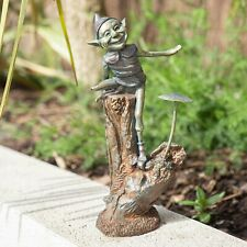 Charming and fun Pixie on a snail garden ornament bronze effect resin 2ft tall!
