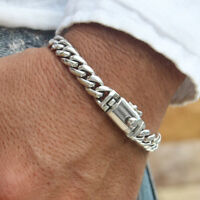 Men Bracelet Necklace 925 Solid Sterling Silver Elegant Chain Link size 7 8 9 28