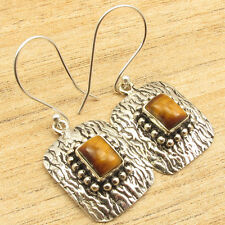 "Eye Decorative Stamping Earrings 1.5"" 925 Silver Overlay Brown Tiger'S"