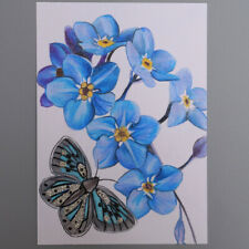More details for mm081 butterfly with blue flower mystery masterpieces art postcard 15cm x10.5cm