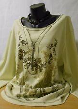 Sarah Amari Damen Shirt Baumwolle Lagenlook Rundhals Langarm Farbe Perle Größe48