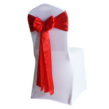 10/50/100pcs Satin Sashes Chair Cover Bow Sash for Wedding Party Chair Decor