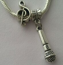 Microphone Singer Music Note Speech Band Dangle Bead for European Charm Bracelet