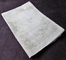 """Antique 4 European Lap Cloths Textured Linen Damask Ferns & Florals Ecru 33"""""""