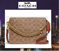 Coach 78801 Signature Chain Leather Crossbody Shoulder Bag Deep Red