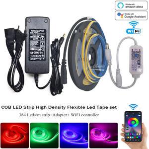 WiFi Controller COB LED Strip Light DC12V / 24V 384 LEDs dimmer  control kit