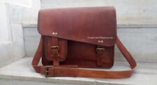 Mens Genuine Leather Vintage Laptop Shoulder Briefcase Messenger Bag Satchel 15