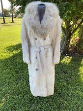 GENUINE SOFT  WHITE RABBIT FUR FULL LENGTH DOUBLE BREASTED COAT  LEATHER BELT S