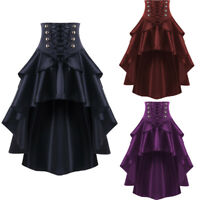 Women Victorian Renaissance Steampunk Gothic Skirt Retro Corset Lace up Dress