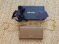 AUTHENTIC Prada Saffiano Leather Chain Clutch Brown Wallet