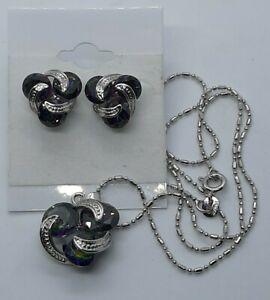 18K White Gold Filled-MYSTICAL Topaz Pendant Necklace Earrings  Set Amazing
