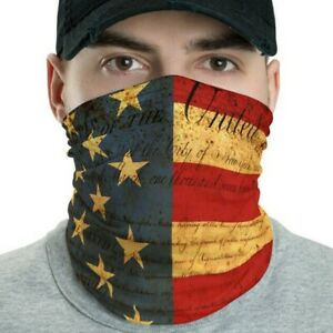 Vintage Neck Gaiter American Flag  Bill of Rights, Washable, Reusable Face Mask