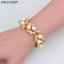 Mecresh Gold Simulated Pearl Crystal Bridal Bracelets Bangle for Women SL089