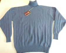 "William Lockie roll neck chunky knit 4 ply cashmere sweater jumper top 48"" Blue"