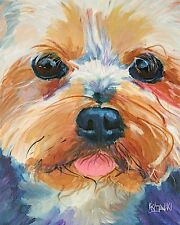 Yorkshire Terrier Art Print Signed by Artist Ron Krajewski Painting 8x10 Yorkie