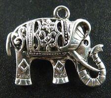 10pcs Tibetan Silver Ornate Elephant Charms Pendants 26x21x9.5mm AD45683