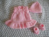 """Doll Clothes Handknitted Pink Vintage Style Dress Set Fit  7"""" 8"""""""