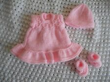 "Doll Clothes Handknitted Pink Vintage Style Dress Set Fit 7"" 8"""