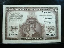 New Caledonia100 Francs 1942 P44 Noumea Indochina Sharp Ao 00896 Banknote Money
